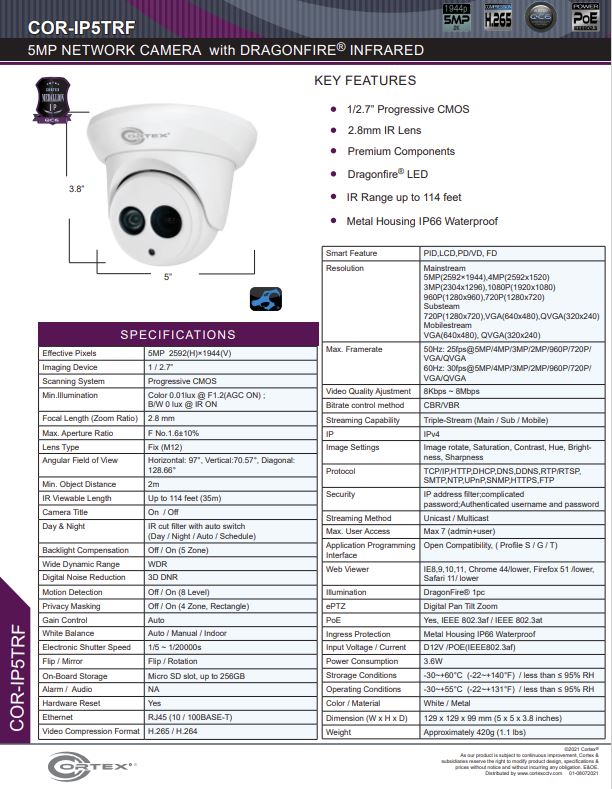 Medallion network camera, Medallion 5MP Network Turret Camera with IR and 2.8mm wide angle lens