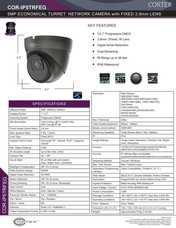 Medallion network camera, Medallion 5MP Network Turret Camera with IR and 3.6mm wide angle lens
