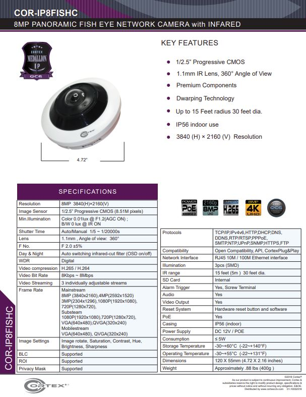 Medallion network camera,5MP IP indoor Fish Eye Network Camera with 360° panoramic view and PoE