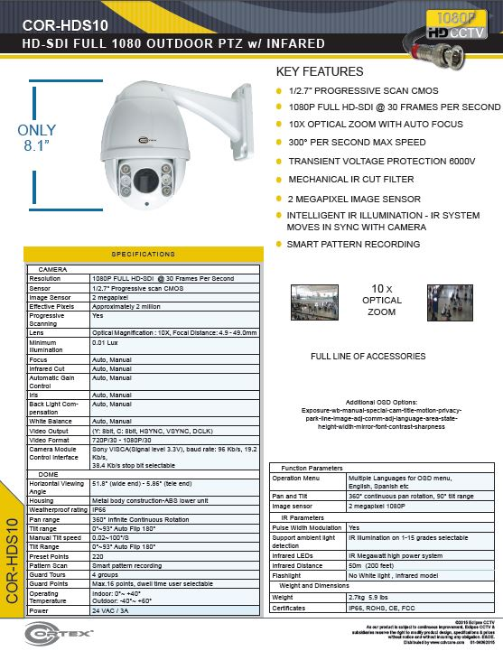 The COR-HDS10 1080P Cortex® HD-SDI High Definition Outdoor PTZ with Infinite Continuous Rotation