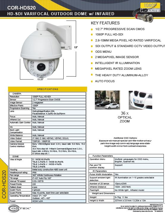 The COR-HDS20 1080P Cortex® HD-SDI High Definition Outdoor PTZ wIith Dragonfire® Long Range IR LEDs