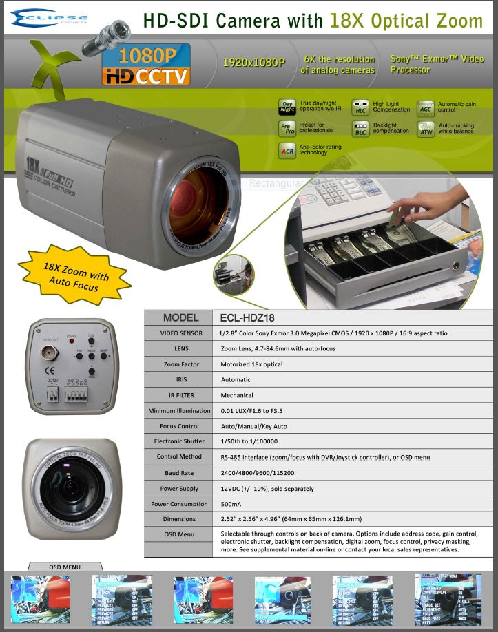 The COR-HDZ18 1080P Cortex® 18x Zoom High Definition SDI Full Size Security Camera