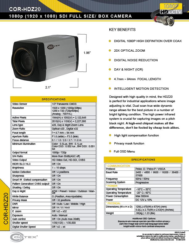 The COR-HDZ20 1080P Cortex® 20x Zoom High Definition SDI Full Size Security Camera