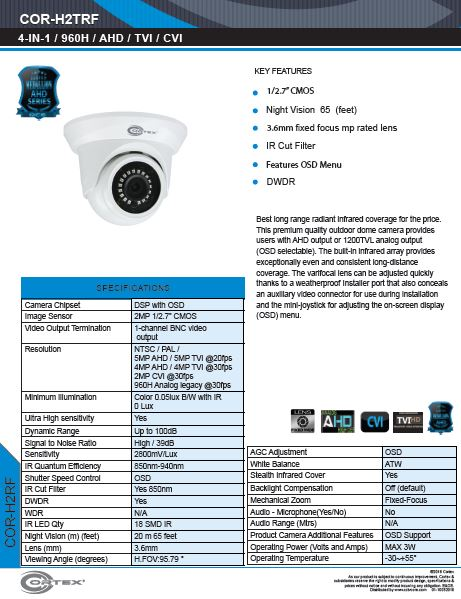 AHD , TVI, CVI camera, 2MP 1080p 30fps (NTSC).