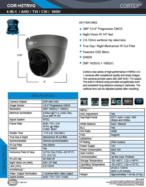 AHD , TVI, CVI camera, 5MP 2592(H)×1944(V).