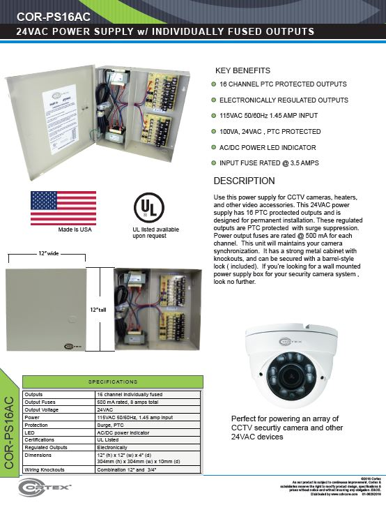 16 Channel security cctv ac power supply specifications for the COR-PS16AC