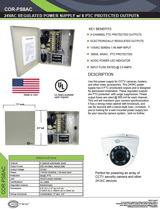 8 Channel security cctv ac power supply specifications for the COR-PS8AC