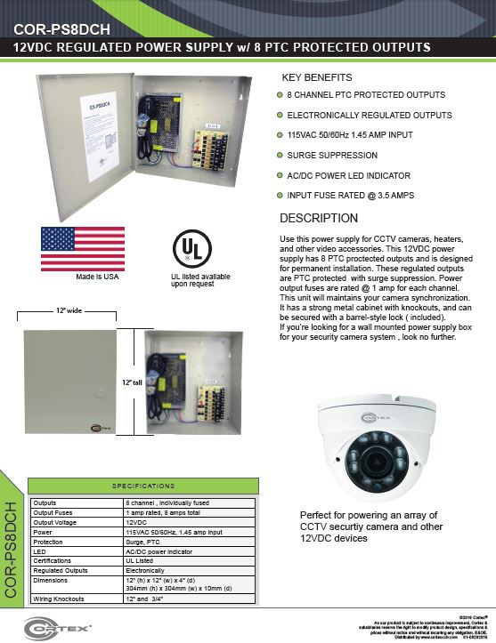 8 Channel security cctv dc power supply specifications for the COR-PS8DCH