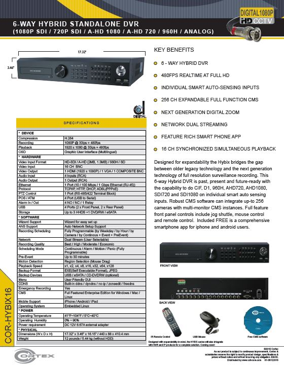 Specification image for the HYBIX16 Cortex® 16 Channel 7-Way Hybrid IP | SDI | EX-SDI | AHD | TVI Hybix series DVR NVR