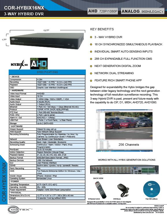 Specification image for the HYBIX16NX Cortex® 16 Channel 4-Way Hybrid 960H | AHD | 960H DVR