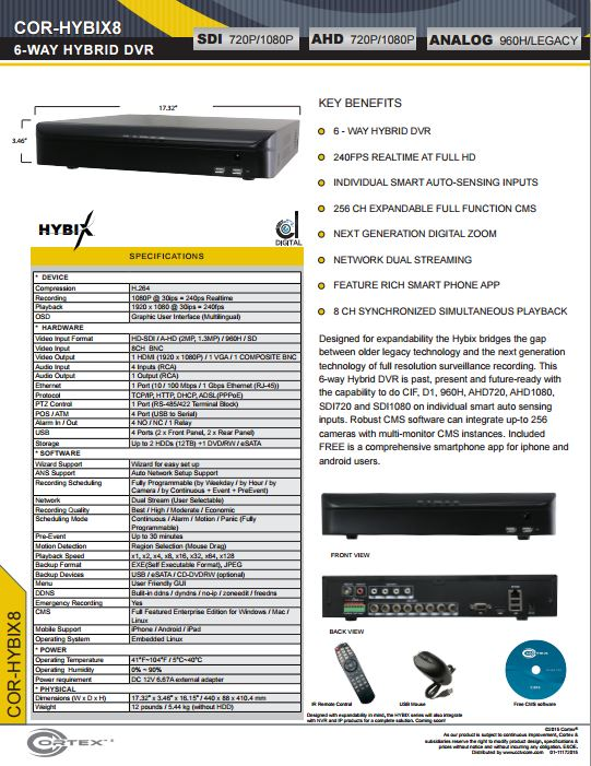 Specification image for the HYBIX8 Cortex® 8 Channel 6-Way Hybrid IP | SDI | EX-SDI | AHD | TVI Hybix series DVR NVR
