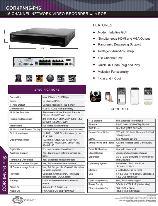 Specification image for the IPN16-P16 Cortex® 16ch Port 4K NVR with 16 PoE and H.265 network recorder