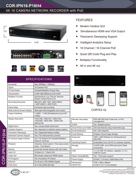 Specification image for the IPN16-P16H4 Cortex® Medallion 16 Port H.265 4K NVR with 16 PoE and 4 HDD Bays