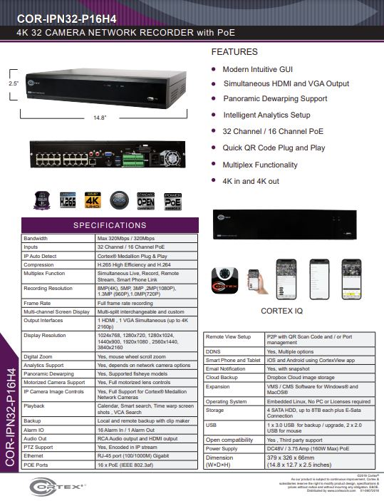 Specification image for the IPN32-P16H4 Cortex® Medallion 32 camera NVR with 8MP (4K) Recording resolution and 4 HDD Bays