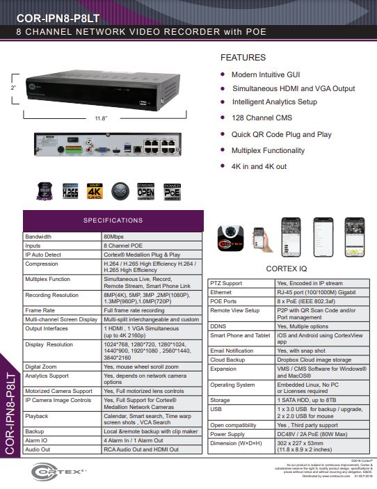 Specification image for the IPN8-P8LT Cortex® Medallion 8 Camera 8 PoE 4K NVR with H.265