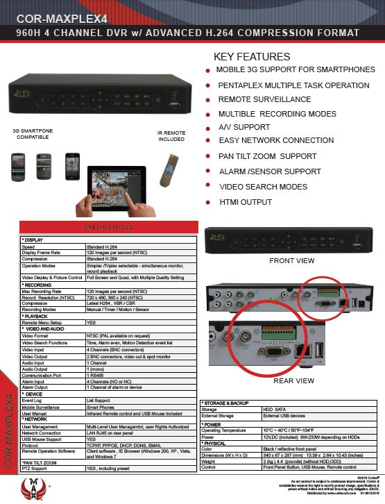 Specification image for the PLEX4 MAX® 4 channel Hybrid Auto-Sensing Full-HD recorder for SuperLive Plus smartphone app surveillance.
