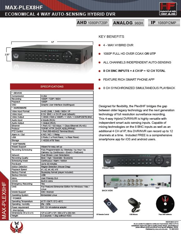 Specification image for the PLEX8 MAX® 8 channel Hybrid Auto-Sensing Full-HD recorder for SuperLive Plus smartphone app surveillance.